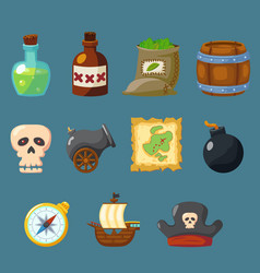 Pirate game cute icon inventory weapon set vector