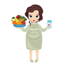Pregnant woman with a fruit plate vector image