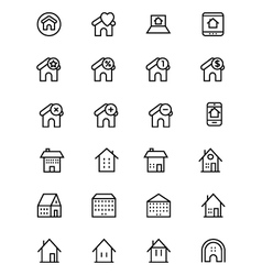 Real estate line icons 5 vector