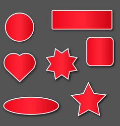 Red stickers with white stroke vector