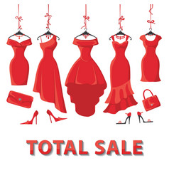 Red summer dresses and accessories setSale vector image vector image