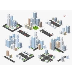 Set 3d isometric vector