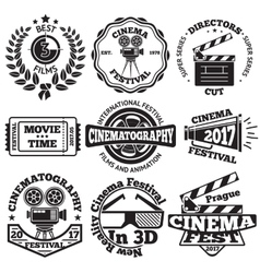 Set of cinema badges with camera clapboard vector