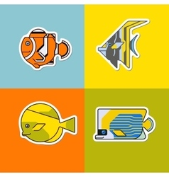 set of stylized fish vector image
