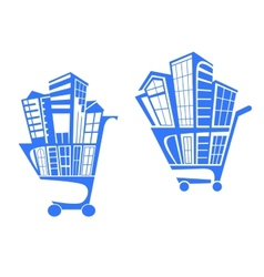 Shopping cart with buildings vector image