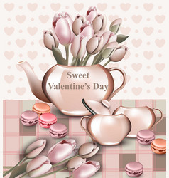 Sweet valentine day card with tulip flowers in a vector