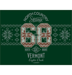 Vermont skiing with norwegian knitting motif vector