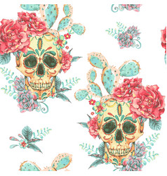 Vintage seamless pattern with skull and vector