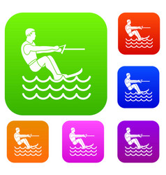 Water skiing man set collection vector