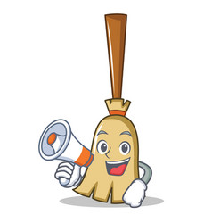 with megaphone broom character cartoon style vector image