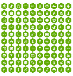 100 funny icons hexagon green vector