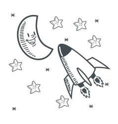 Stars moon space sketch design vector