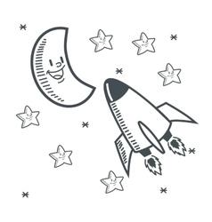 stars moon space sketch design vector image