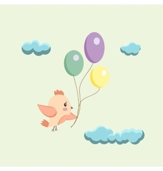 image of a bird with balloons vector image