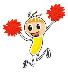 A sketch of a cheerdancer with red pompoms vector
