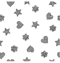 Black scribble shapes on white background vector