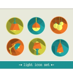 Lamp icon set vector