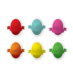 Six easter egg with ribbon vector