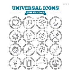 Universal linear icons set thin outline signs vector