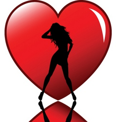 Sexy female in heart vector