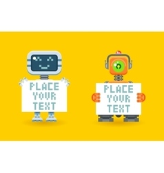 Robots with blank paper place for your text vector