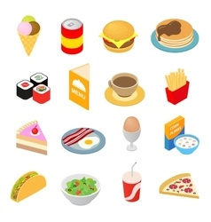 Fast food isometric 3d icons set vector
