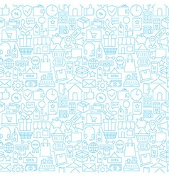 Thin shopping retail line white seamless pattern vector