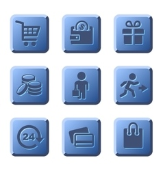 Blue shopping icons set vector