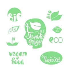 Organicbioecology natural logotypes elements set vector