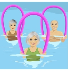 Senior people with foam rollers vector