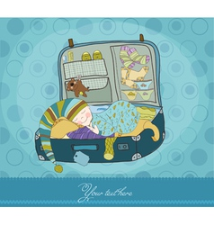 Baby boy sleeping in suitcase arrival card vector