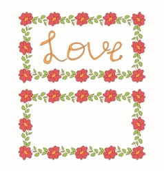 Beautiful floral love card vector