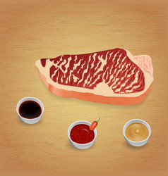 beef steak with delicious sauces and spices vector image