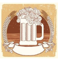 beer symbolvector vintage graphic illustration of vector image vector image