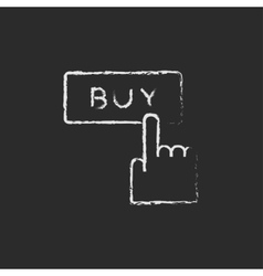 Buy button icon drawn in chalk vector
