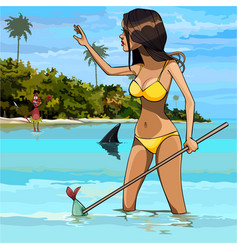 Cartoon woman in swimsuit fishing in the tropics vector
