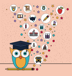 color background with sparkles of owl on pencil vector image vector image