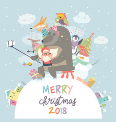 Cute animals with santa claus take a selfie vector