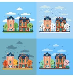 European city urban landscape with vintage houses vector