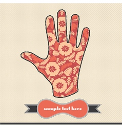 Floral composition on the handprint vector