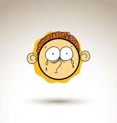 Hand drawn cartoon sad crying boy web avatar theme vector