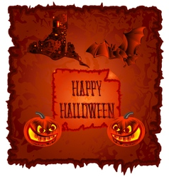 Happy halloween pumpkin and haunted castle vector