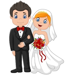 Happy wedding ceremony bride and groom vector