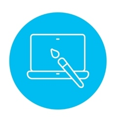 Laptop and brush line icon vector image vector image