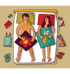 Man and woman couple naked sex relations in bad vector image vector image