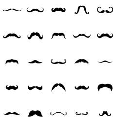 Mustache silhouette set vector image