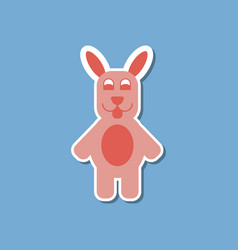 Paper sticker on stylish background rabbit bunny vector
