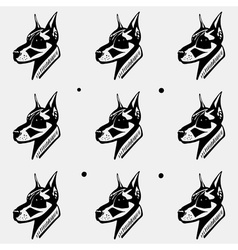 Pattern black and white monochrome dog heads vector