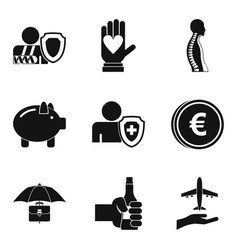 Pharma case icons set simple style vector