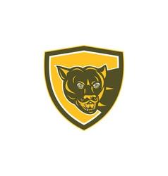 Puma mountain lion head prowl shield retro vector